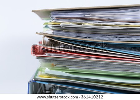 Messy document file folders