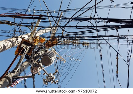 messy electric cables in Japan - stock photo