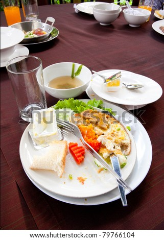 Messy Food after the meal - stock photo