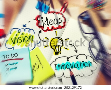 Messy Office Desk with Ideas and Vision - stock photo