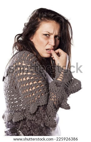 messy scared and crying woman on white - stock photo