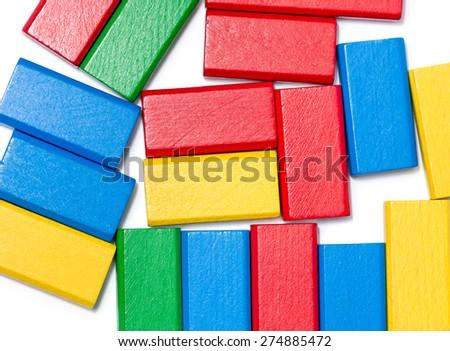 Messy Toy Block Background - stock photo