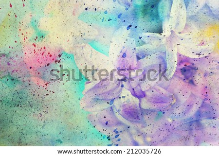 messy watercolor splatter and gentle lilac flowers - stock photo