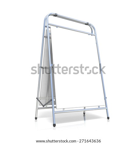 Metal advertising stand, with copy space board. Side view. 3D illustration isolated on white background - stock photo