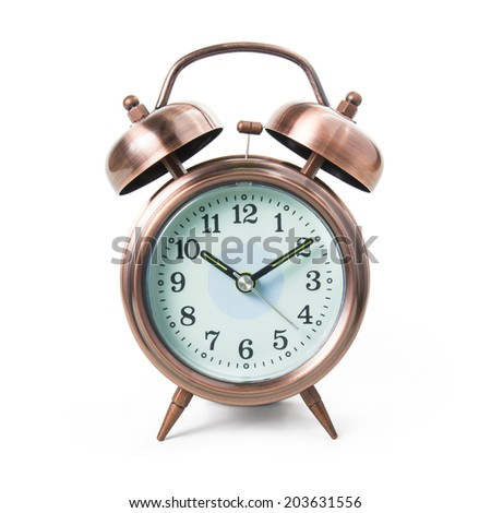 Metal alarm clock isolated on white background, include clipping path. - stock photo