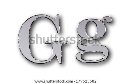 Metal alphabet symbol G - silver - stock photo