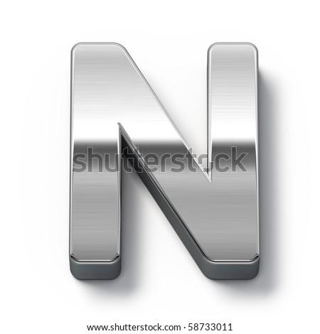 Metal alphabet symbol - n - stock photo