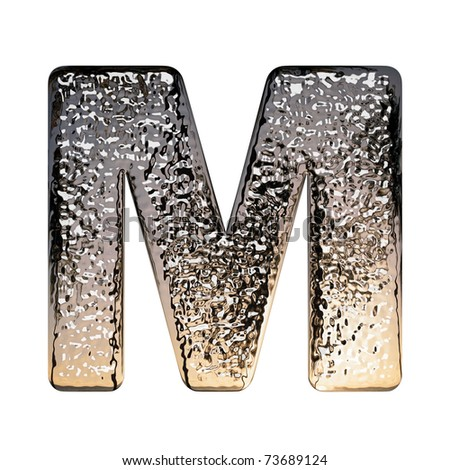 "Metal alphabet symbol on white background, ""M"" - stock photo"