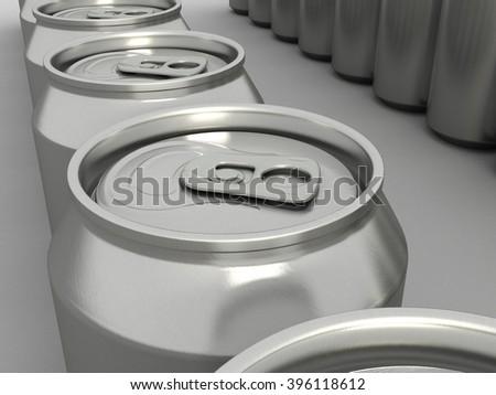 Metal Aluminum Drink Can Closeup. 3D illustration. - stock photo