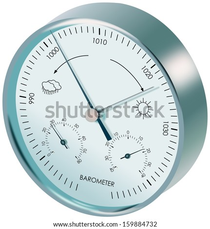 Metal analogue barometer with dials and symbols of weather - stock photo