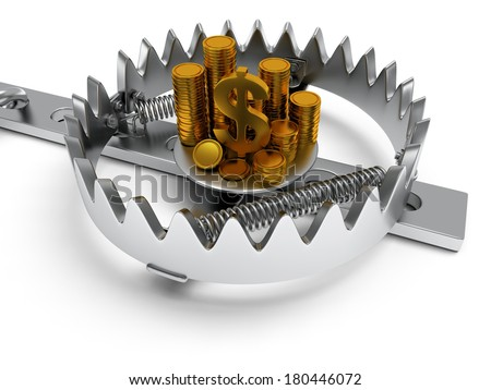 Metal animal trap open with money. Attached to the ground with a metal chain. Isolated. 3D render. Mantrap, danger, risk, credit concept - stock photo