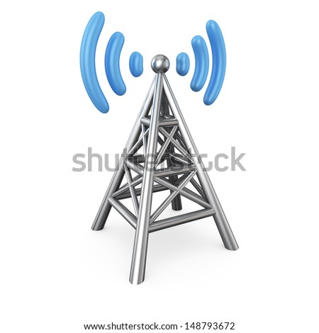 Metal antenna symbol isolated on white - stock photo