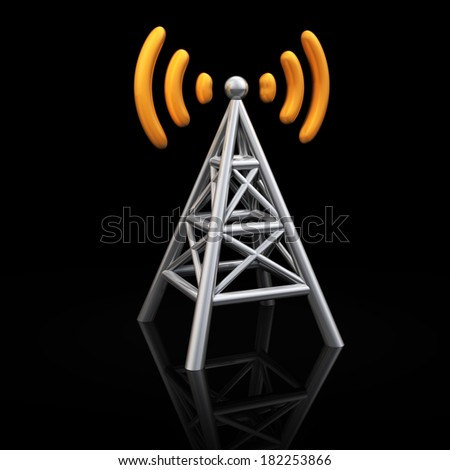 Metal antenna symbol with orange radio waves isolated on black background - stock photo
