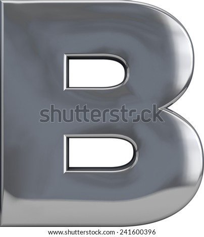 Metal B letter character isolated on white. Including clipping path. Part of complete alphabet set. - stock photo