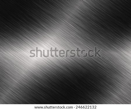 Metal background or texture of brushed steel plate with reflections Iron plate - stock photo