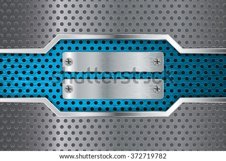 Metal background. Steel plate with screw. Blue perforated metal with chrome frame. Illustration. Raster version. - stock photo