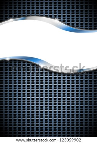 Metal Background with Metal Grid / Metal vertical background with grid and white space - stock photo