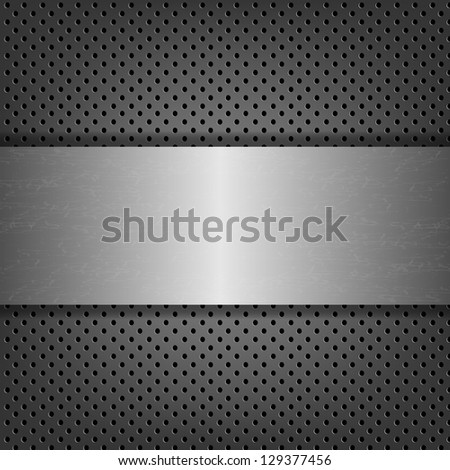 Metal Background With Metal Plate - stock photo