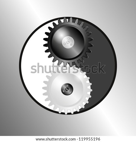 Metal background with pinions. Symbol yin yang. Raster version of the loaded vector. - stock photo