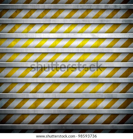 metal background with warning stripe - stock photo