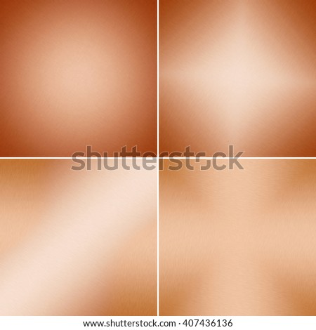 Metal backgrounds or texture of brushed copper plate  - stock photo