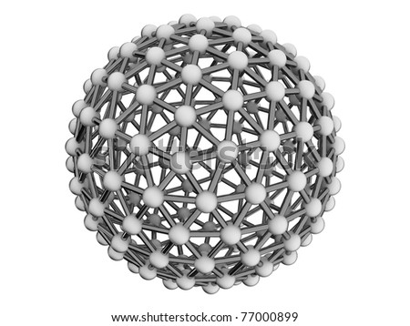 Metal bacterium as a sphere of spheres and cylinders on a white background - stock photo