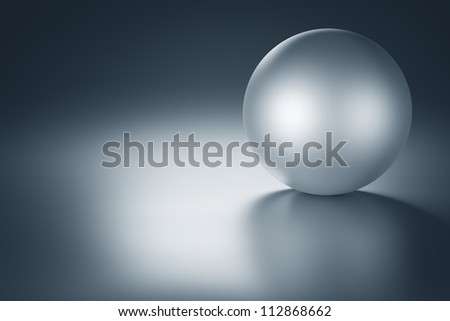 Metal ball on a metal table with copy space. 3d render - stock photo