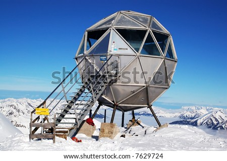 Metal ball-shaped weather station on mountain top in Bad Gastein, Austria - stock photo