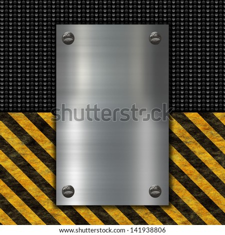 metal banner on black carbon background - stock photo