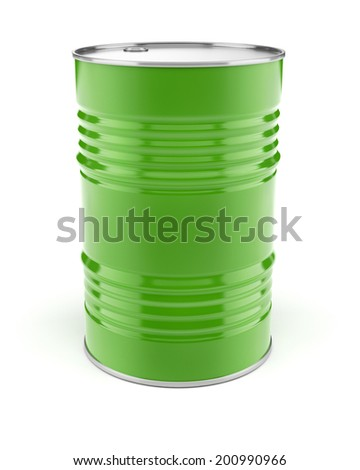 Metal barrel for oil or petrol storage. 3d rendered illustration. Isolated on white background. Clipping path included - stock photo