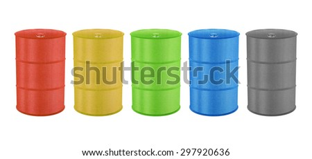 Metal Barrels for Oil, Toxic Chemical and Other is Paper Cut Design - stock photo