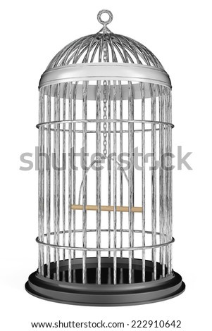 Metal Bird Cage on a white background  - stock photo