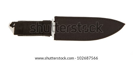 Metal blade with braided handle on a white background - stock photo