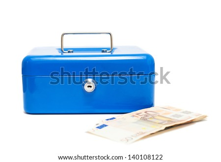metal blue cash box and notes over white background - stock photo