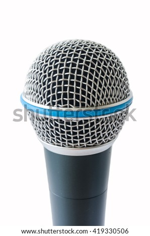 Metal body microphone isolated in white background