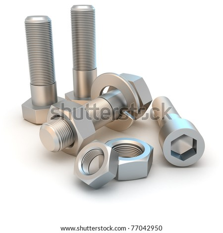 Metal bolts and screws isolated - stock photo