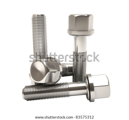 Metal bolts isolated on white - stock photo