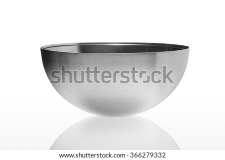 Metal bowl isolated on white background - stock photo
