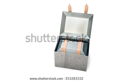 metal box in side of metal box on White Background, Studio Shot - stock photo