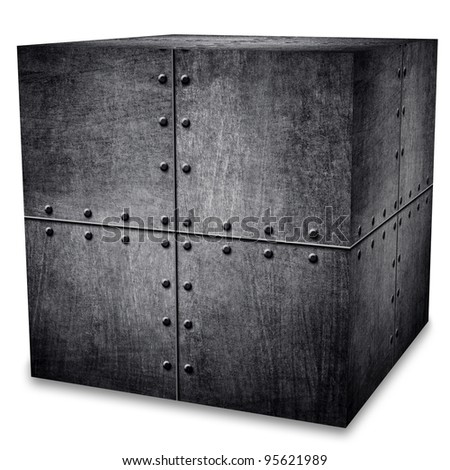 metal box (isolated with clipping path) - stock photo
