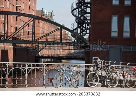 metal bridges over Elbe river in Speicherstadt district, Hamburg, Germany - stock photo