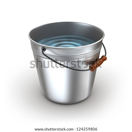 Metal bucket full of water. Isolated on white - stock photo