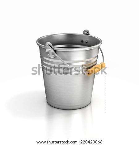 metal bucket isolated on white - stock photo