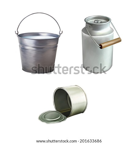 Metal bucket with milk, Opened Tincan Ribbed Metal Tin Can, Canned Food. Ready For Your Design., illustration of milk can isolated on white background - stock photo