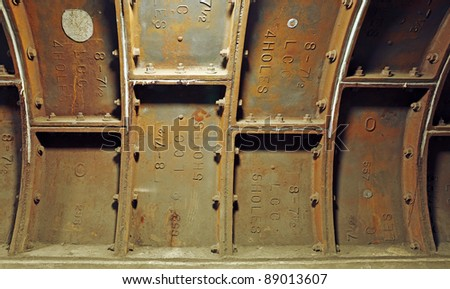 Metal caisson jacket on the underground footpath tunnel across the river Thames in Greenwich, London. - stock photo