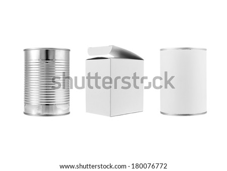 Metal can and various white box packages on white background. each one is shot separately - stock photo