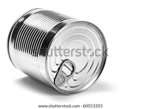Metal can for preserved food on white background - stock photo