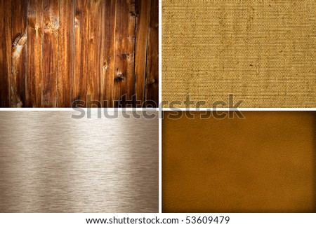 Metal, canvas, wooden and leather textures collection - stock photo