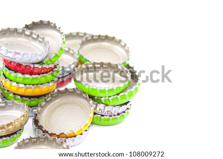 Metal caps from bottles - stock photo
