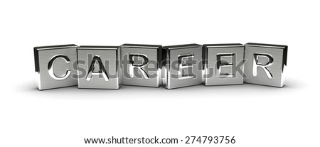 Metal Career Text (isolated on white background) - stock photo